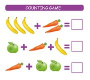 Tellend Spel voor Peuterkinderen Onderwijs een wiskundig spel Ð ¡ ount hoeveel vruchten en groenten in elke rij en schrijft stock illustratie