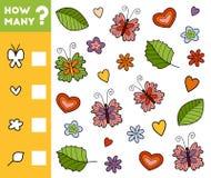 Tellend Spel voor Peuterkinderen Tel hoeveel voorwerpen royalty-vrije illustratie