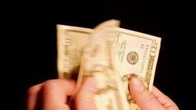Tellende de dollarsrekeningen van het geldcontante geld in handen stock video