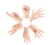 Tellende mensenhanden (0 tot 5) stock afbeeldingen