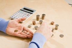 Tellende muntstukken stock foto