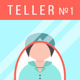 Teller behind the window. Concept of payment and service. flat style trendy modern eps10 vector illustration Royalty Free Stock Image
