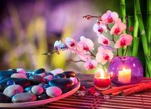 Teller der Steinmassage mit Orchideen und Bambus Stockfotografie