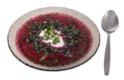 Teller des klaren grauen Glases, kalte Suppe der roten Rübe, russischer Borscht Lizenzfreies Stockfoto