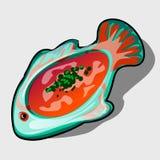 Teller in Form der Fische mit Tomatensuppe stock abbildung