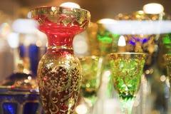 Teller met Boheems glas stock afbeeldingen