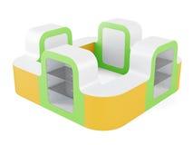 Teller met showcase op een witte achtergrond wordt geïsoleerd die 3D renderi Royalty-vrije Stock Foto