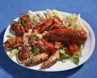 Teller mit essbaren Meerestieren Stockfotos