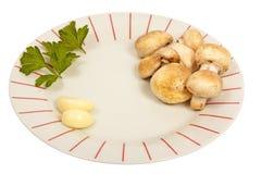 Teller mit Pilzen, Petersilie und Knoblauch Lizenzfreie Stockbilder