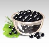 Teller mit schwarzem Kaviar Stockfotografie