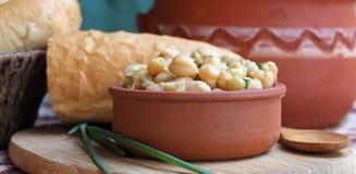 Teller von Kichererbsen mit Kräutern und Olivenöl Lizenzfreie Stockbilder