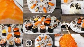 Teller von Sushi und von Sashimi, Collage Multiscreen stock video