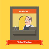 Teller window with a working bald cashier Stock Image