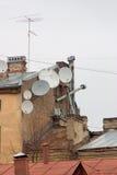 Tellerförmige Antennen Stockbilder