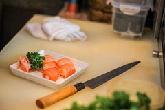 Tellerfleischfischfutter-Reis des Sushi-japanischen Restaurants leckerer köstlicher Lachschef Lizenzfreies Stockfoto