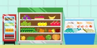 Tellers met voedsel, groenten en vruchten Ijskast met frisdranken Showcase met vlees, vissen en worsten handel Royalty-vrije Stock Foto's