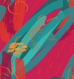 Tellers ruwe slagen en kers op heldere roze geweven stock illustratie