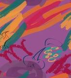 Tellers ruwe slagen en kers op purple Stock Afbeeldingen