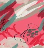 Tellers ruwe slagen en kers op rozerood stock illustratie