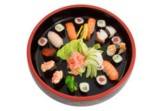 Tellersegment der frischen Sushi Lizenzfreie Stockfotografie
