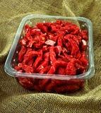 Tellersegment des gehackten roten Fleisches Stockbilder