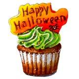 Tellersschets van Gelukkig Halloween cupcake Geïsoleerde Stock Foto's