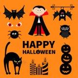 Telling Dracula, monster, spin, knuppel, uil, rood oog, kaarsreeks Gelukkig Halloween Tekst met pompoen Leuk beeldverhaal eng sil Royalty-vrije Stock Foto