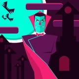 Telling Dracula op de achtergrond van het kasteel en de maan vector illustratie