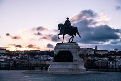 Telling Gyula Andrassy Statue, Boedapest, Hongarije royalty-vrije stock fotografie