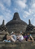 Telling the history of of a Borobudur temple Stock Image