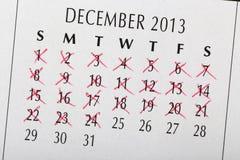 Telling neer aan Kerstmisdatum stock afbeelding