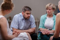 Telling about problems during therapy Stock Images