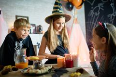 Telling Scary Halloween Story to Friends stock photography