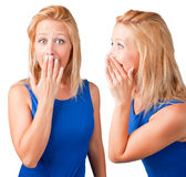 Telling a Secret. Woman talking and another woman listening Royalty Free Stock Photo
