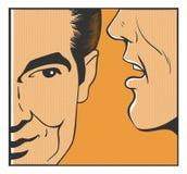 Telling a secret. Man pop art comics Stock Photos