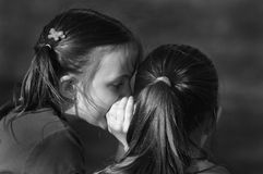 Telling Secrets. Two little girls with pony tails whispering secrets Royalty Free Stock Image