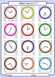 Telling the time, draw the time. What time is it, What is the time, draw the time Royalty Free Stock Images