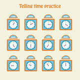 Telling time practice. Educational art. Vector illustration Royalty Free Stock Photography