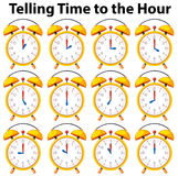 Telling time to the hour on yellow clock. Illustration Stock Photo