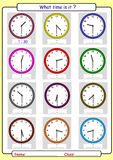 Telling the time, what is the time,. What time is it, What is the time, Half hours Royalty Free Stock Photos