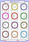 Telling the time, what is the time,. What time is it, What is the time, Quarter hours Stock Photography