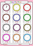 Telling the time, what is the time,. What time is it, What is the time, whole hours Royalty Free Stock Images