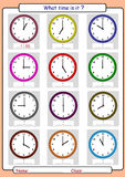 Telling the time, what is the time,. What time is it, What is the time, whole hours Royalty Free Stock Photography