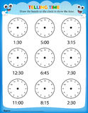 Telling time worksheet. For pre school kids to identify the time. Clock faces without hands Royalty Free Stock Image