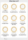 Telling time worksheet. worksheet for education. Telling time worksheet. write the clockwise and time on the clock Royalty Free Stock Photo
