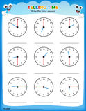 Telling time worksheet. Write the time shown on the clock on empty space Stock Photo
