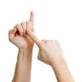 Telling weg op mannelijke vingers die op wit worden geïsoleerdk stock fotografie