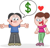 Telling Woman He Has Dollars Stock Images