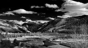 Tellurid, Colorado, drastisches Monochrom Stockbilder