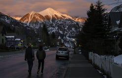 Telluride Alpenglow illuminates the Mountains of Telluride Colorado Royalty Free Stock Photos